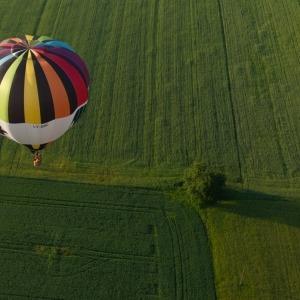 Oro balionas virš žalių Lietuvos laukų