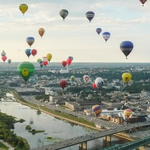 Hot air balloon flight over Kaunas